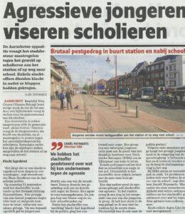 2014-10-03 Nieuwsblad Aggressieve jongeren viseren scholieren