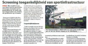 2014-10-24 Nieuwsblad Diest toegankelijkheid sportinfrastructuur